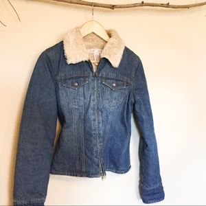 Abercrombie &Fitch Denim Jacket with Sherpa Collar